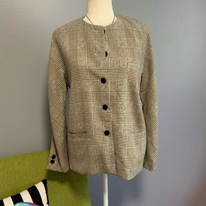 Escada Vintage Plaid Collarless Blazer Jacket 38